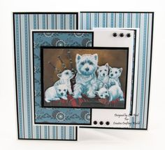 Handmade Card : This card has been created using Pollyanna Pickering – Family Portraits - Dogs dvd-rom from Creative Crafting World. West Highland Terrier, Image Painting, British Wildlife, Different Dogs, Dog Cards, Create And Craft, Animal Cards, Dog Life