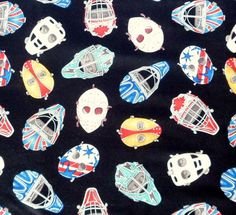 Ice Hockey Fabric Goalie Player Masks Sew Sporty Dan by Quiltwear, $10.50