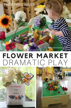 Spring is the perfect time to add a flower market to your toddler and preschool dramatic play area! I've included some free printables to go along with the fun, adding some extra literacy and fine motor into the activity. #toddlers #preschool #dramaticplay #pretendplay #teachers #earlychildhood #classroom #AGE2 #AGE3 #flowers #printable #spring #teaching2and3yearolds