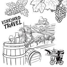 Various Vineyard Travel Concept Sketches