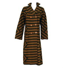 1940's Adrian Original Striped Wool Double-Breasted Noir Coat | From a collection of rare vintage jackets at https://www.1stdibs.com/fashion/clothing/jackets/
