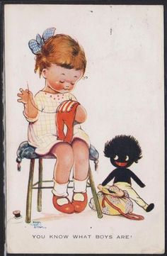 "Mabel Lucie Attwell illustration...""You Know What Boys Are""....Golliwog."