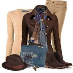 Another combo I have long adored is blue and brown.  I am mad crazy about that scarf, the color blue of the bag, and I would wear this outfit like crazy - except the hat. I'm not sure I could rock the hat.