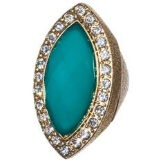 Delicia's Gifts Gold Sea Green Faceted Marquise Ring