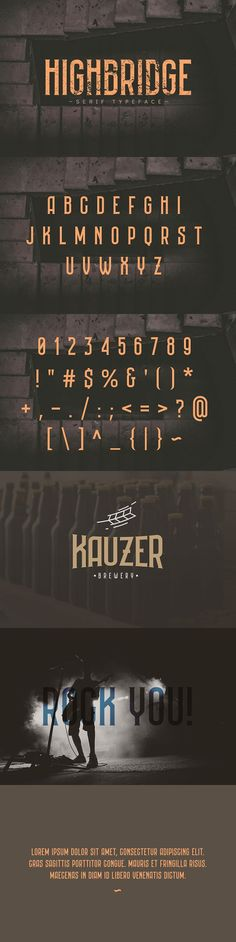 Buy Highbridge Typeface by kulturrrno on GraphicRiver. HIGHBRIDGE is a modern serif font but with the spirit of antiquity. Best for logos and prints. Basic latin glyphs ALL. Graphic Design Fonts, Typography Design, Vector Design, Design Design, Typeface Font, Calligraphy Fonts, Vintage Typography, Typography Letters, Hand Lettering