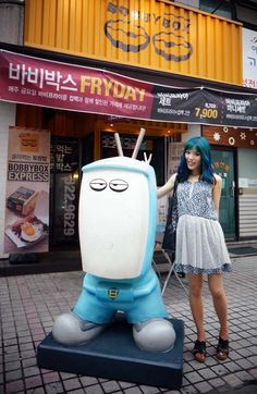 La Carmina is hosting a travel TV show in Asia, for Travel Channel! More info about this upcoming TV series, plus La Carmina's Kpop guide to Seoul, Korea >> http://www.lacarmina.com/blog/2015/06/hongdae-karaoke-kpop-makeup-travel-channel/  cute in korea,  robot statue