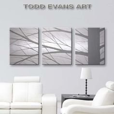 "Hand Painted Canvas Art Large Original Wall Art Home Decor Tree Paintings Wall Decor Home & Living Room Painting Grey Gray Black and White Art 48""x20"" by Todd Evans Art"