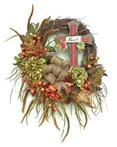 XL Fall Wreath, Cross Wreath, Fall Decor, Fall Wreaths for Door, Autumn Decor, Autumn Wreaths, Outdoor Wreaths, Front Door Wreaths,Fall Door on Etsy, $152.00