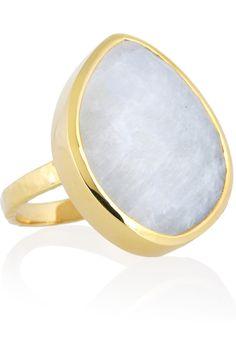 Monica Vinader  Nugget 18-karat gold-vermeil moonstone ring