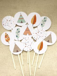 Tribal cupcake toppers woodland cupcake toppers by JuneandForr