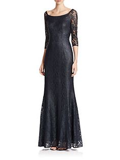 Kay Unger - Off-The-Shoulder Floor-Length Lace Gown