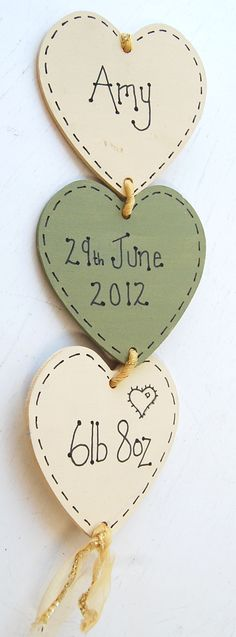 Baby keepsakes heart hanging plaque sign.  Personalised or customised.  Use our wooden, bisque/pottery or papier mache hearts (supplied un-painted) to create wonderful gifts.