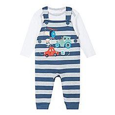 bluezoo - Babies blue vehicle applique dungarees and bodysuit set debenhams.com