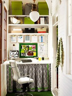Home Office Alcove: great use for small space and you can hide a lot of junk behind that curtain!  #smallspaces