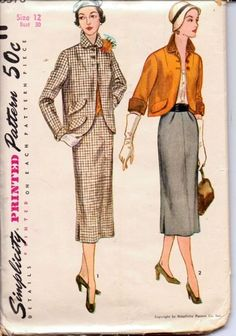 Simplicity 8378 Vintage 1950's Sewing Pattern Ladies Suit Jacket and Wiggle Skirt Three Quarter Sleeves Soft Pleats