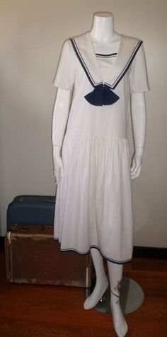 Vintage 1920s 30s Great Gatsby flapper era style sailor dress #NoTag