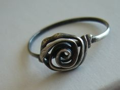 Sterling Silver Ring/ Simple Oxidized Silver Ring/ Rose Bud