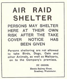 London Underground - First World War air raid shelter poster, September 1917 by mikeyashworth,