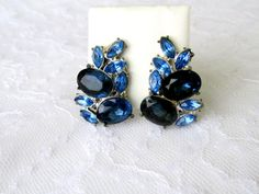 Royal Blue Glass Earrings Prong Set Open by SunburyVintageStore