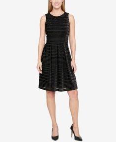Tommy Hilfiger Velvet Shadow-Stripe Fit & Flare Dress - Black 12