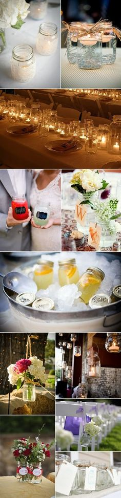 like the candles in the jars & the great idea of serving drinks in the jars too!!