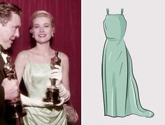 1955 Actriz: Grace Kelly  Ganó por: La angustia de vivir (1954)  Vestido diseñado por: Edith Head