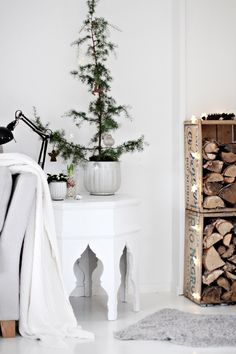 Scandinavian Christmas inspiration - twinkle lights draped on crates
