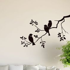 Birds on Tree Branch Wall Vinyl Sticker Decal Livingroom Children Mural Art Hall - Wall Vinyl Graphics, Window Graphics, Shop Front stickers, Interior Decor Tree Wall Painting, Simple Wall Paintings, Creative Wall Painting, Metal Tree Wall Art, Simple Wall Art, Bird Wall Art, Tree Branch Art, Tree Art, Tree Branches