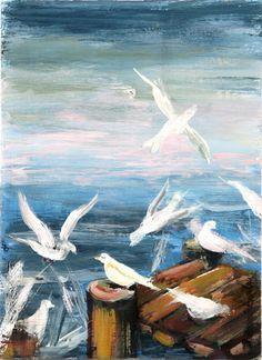 Original acrylic painting birds