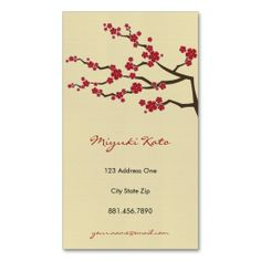 Red Sakuras Oriental  Zen Cherry Blossoms Business Card. Make your own business card with this great design. All you need is to add your info to this template. Click the image to try it out!