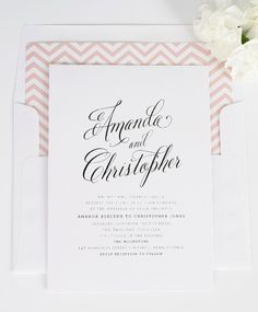 Chevron Wedding Invitations with Chic script font - chic wedding invitations, blush wedding invitations, chevron wedding invitations , wedding invitations names