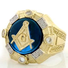 10k Gold Two-tone Mens Synthetic Sapphire Masonic Ring - Jewelry Liquidation Number: R0T1955SS0-1100 - Ask for FREE Resizing!