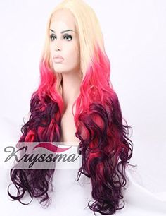 Kryssma Halloween Ombre Synthetic Lace Front Wigs 4 Tone Colors Blonde  Pink  Red  Burgundy For Women Half Hand Tied Layered Glueless Full Wig Heat Friendly For Christams 24 Inch * You can get additional details at the image link.