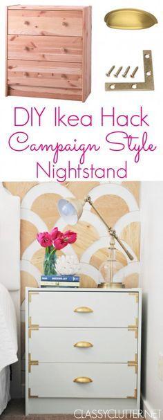 DIY Campaign Style Nightstands - Ikea Rast Hack | www.classyclutter.net