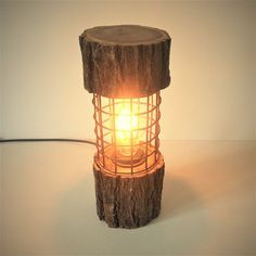 Rustic Log Light Lamp Rusty Metal Wood Unusual Wooden Table Lamp Light Cottage Chic Natural Accent F