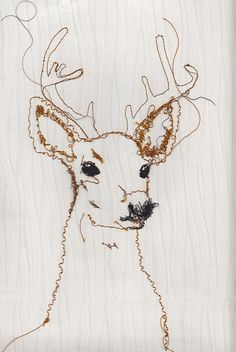 Embroidered sweater #inspiration   Wallpaper Deer by RosieG Embroidery, via Flickr