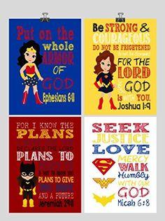 Bible Verses for Girls Superhero Set of 4 - Christian Wall Art Print - Supergirl, Batgirl, Wonder Woman - Bible Verse Nursery, Playroom or Kids Room Decor - Multiple Sizes Superhero Wall Art, Superhero Party, Christian Girls, Christian Wall Art, Batgirl, Supergirl, Bible Verses For Girls, Wonder Woman Superhero, Nursery Decor
