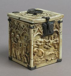 Box with Scenes from the Infancy of Christ  Date: 14th century Culture: French Medium: Ivory, metal (silver?) mounts