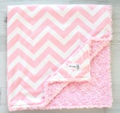 Pink Chevron Double Minky Rosette Baby Blanket From by Kemaily, $42.99