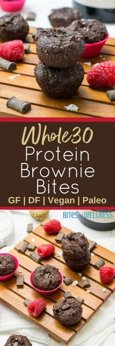 Satisfy that chocolate craving with these protein brownie bites! Grain free, vegan, gluten free, paleo, whole30 and so easy to make! #chocolate #vegan #glutenfree | https://bitesofwellness.com