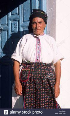 greece, dodecanese islands, karpathos, avlona, greek woman wearing traditional clothes  Contributor: Vito Arcomano / Alamy Stock Photo