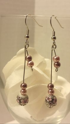 Japanese style pink floral earrings/drop earrings/dangle earrings