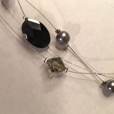 """Lia Sophia Night Mist Necklace 16-19"""" Cut crystals and grey/black beads on silver tone wire. So light and pretty!        Price is firm. No trades. First come, first served. Happy to bundle! Thank you! Jewelry Necklaces"""