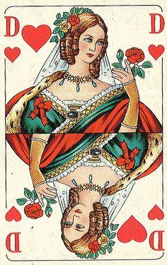 CARTE A JOUER - Queen of Hearts (Dame de coeur) / Allemagne