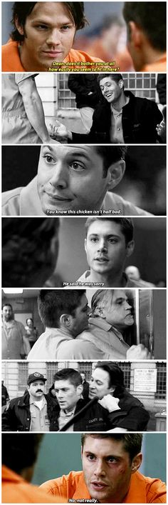 "2x19 Folsom Prison Blues [gifset] - ""Dean, does it bother you at all how easily you seem to fit in here?"" - Sam and Dean Winchester"