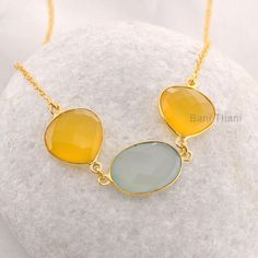 Yellow and Aqua Chalcedony - Pendant Necklace - Micron Gold Plated 925 Sterling Silver Necklace Supplies Jewelry #1773