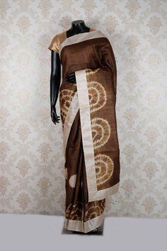 #Brown & #cream pure #tussar silk weaved stunning #saree with cream border -SR12524