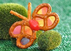 Fruit Roll Ups make for perfect butterfly wings in these Rainbow Pretzel Butterflies!