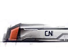 Train Concept Transport White Orange Sketch