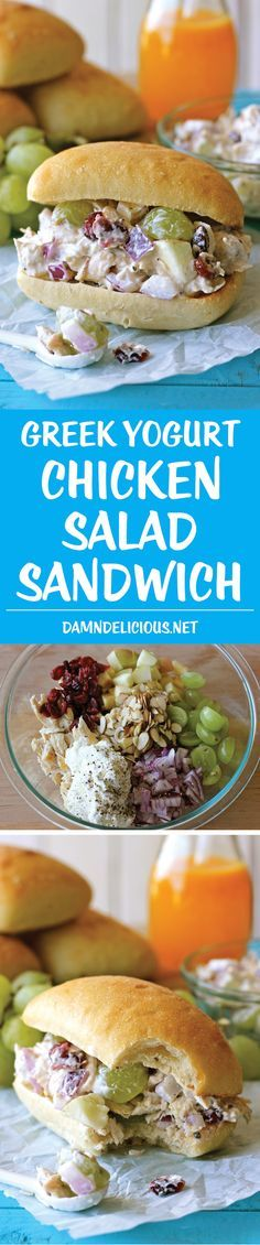 This would be so good as a lettuce wrap! Greek Yogurt Chicken Salad Sandwich - From the plump grapes to the sweet cranberries, this lightened up sandwich won't even taste healthy! Healthy Snacks, Healthy Eating, Healthy Recipes, Greek Yogurt Chicken Salad, Greek Salad, Greek Yoghurt, Coconut Yogurt, Salad Sandwich, Chicken Recipes
